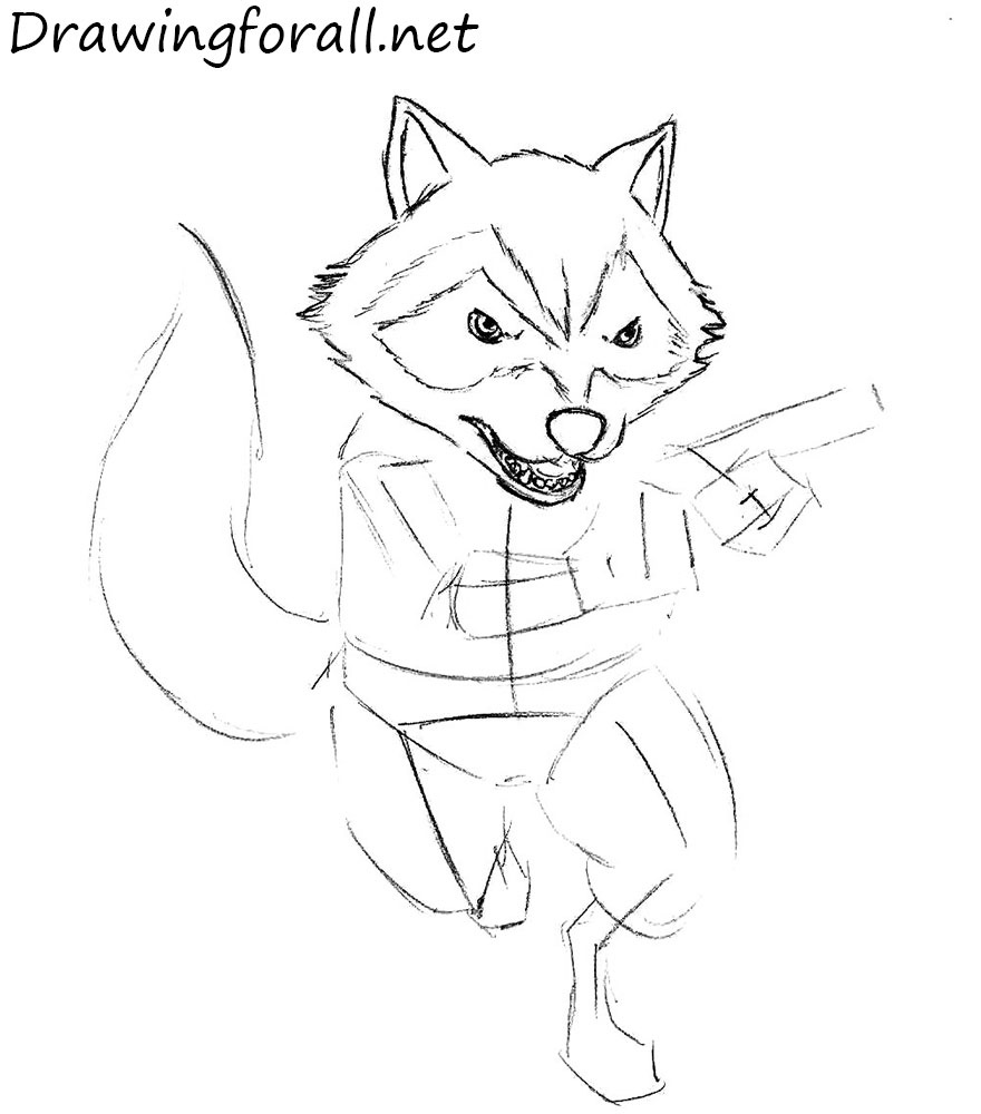 How to Draw Rocket Raccoon with a pencil