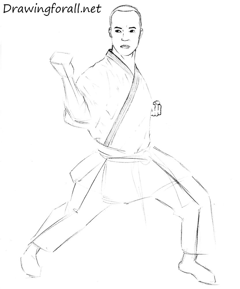 how to draw a karate man