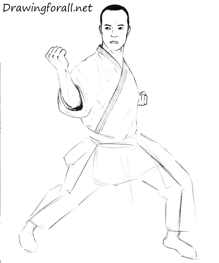 how to draw a karate man realistic
