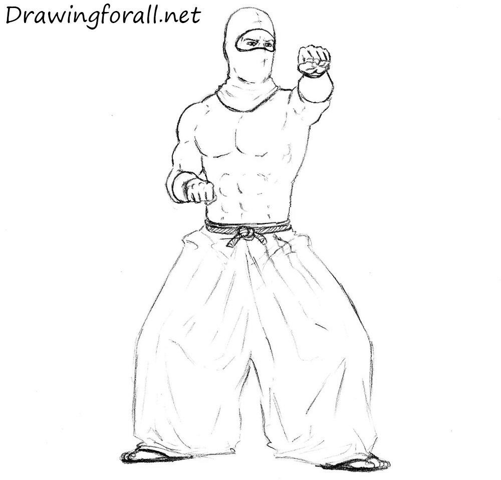 how to draw a ninja with a pencik