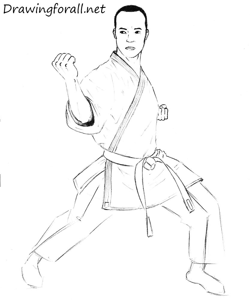 how to draw a karate man with a pencil