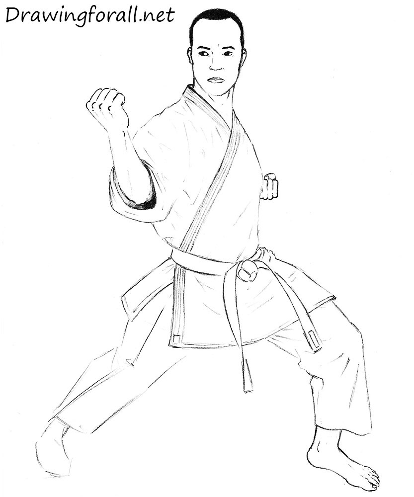 karate man drawing