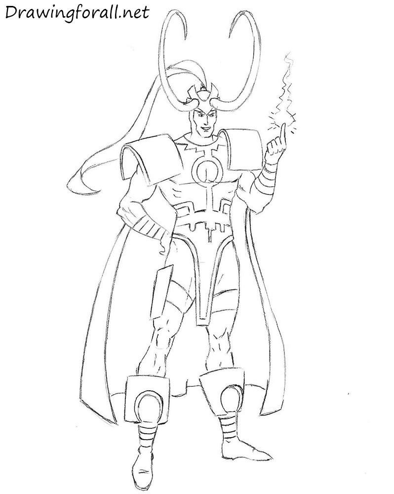 how to draw loki marvel