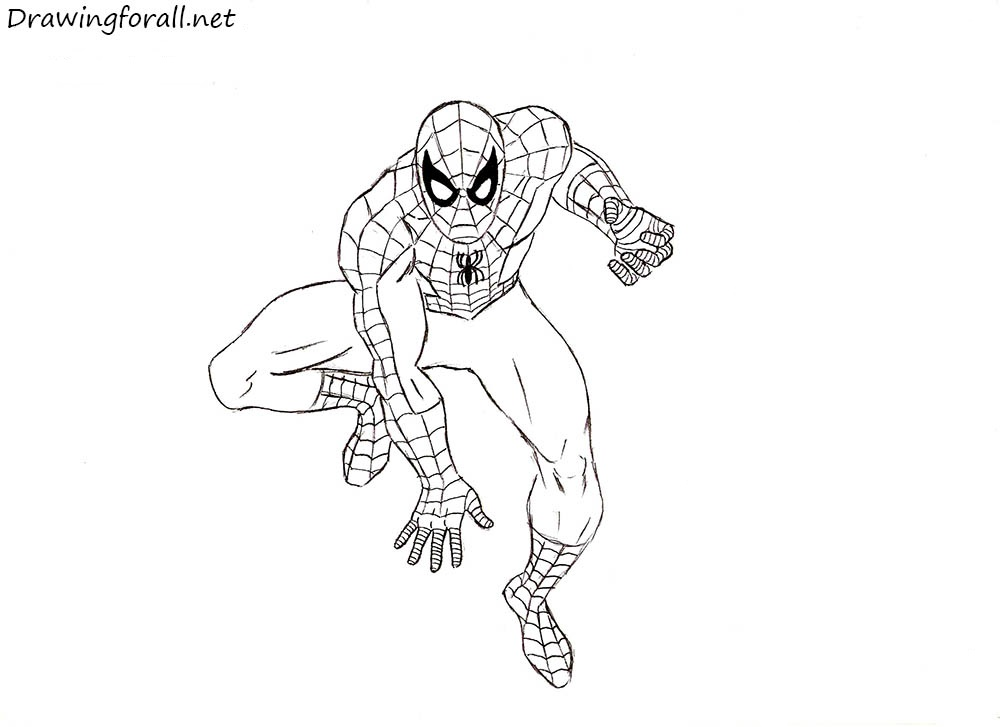 how to draw classic spider-man