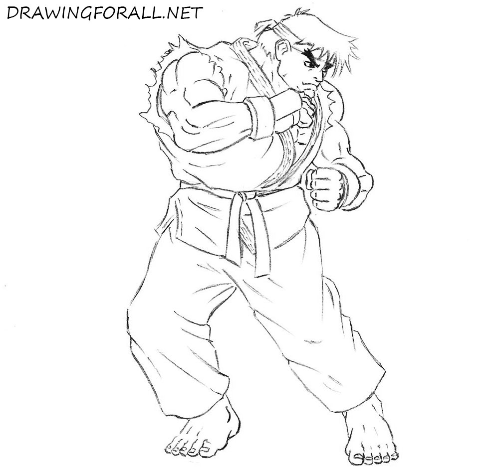 how to draw ryu  step by step