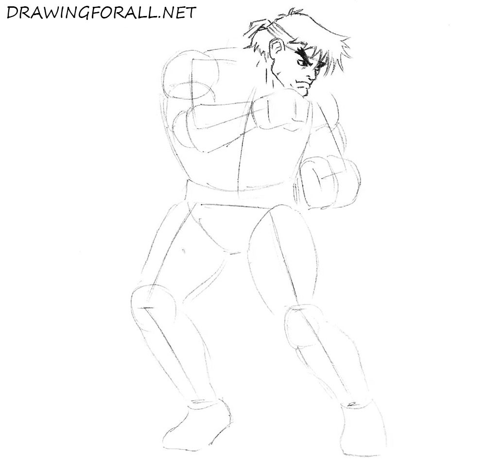 how to draw Ryu with a pencil
