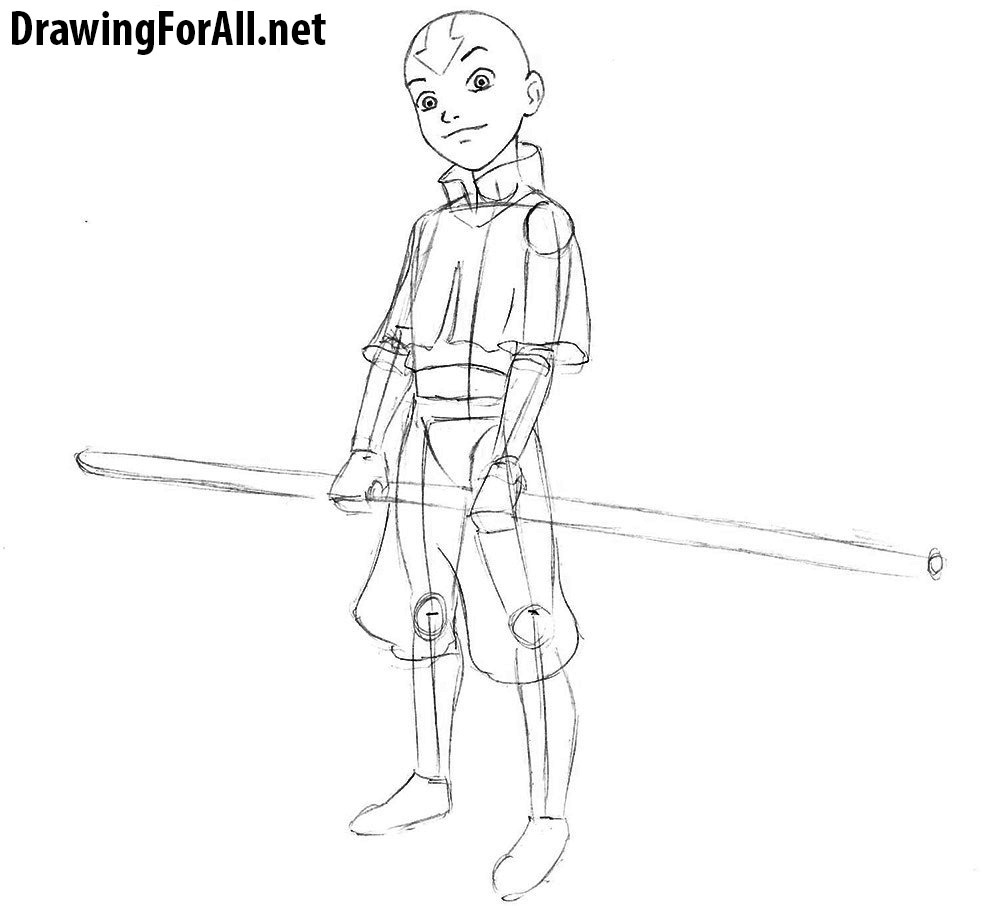 how to draw avatar aang step by step