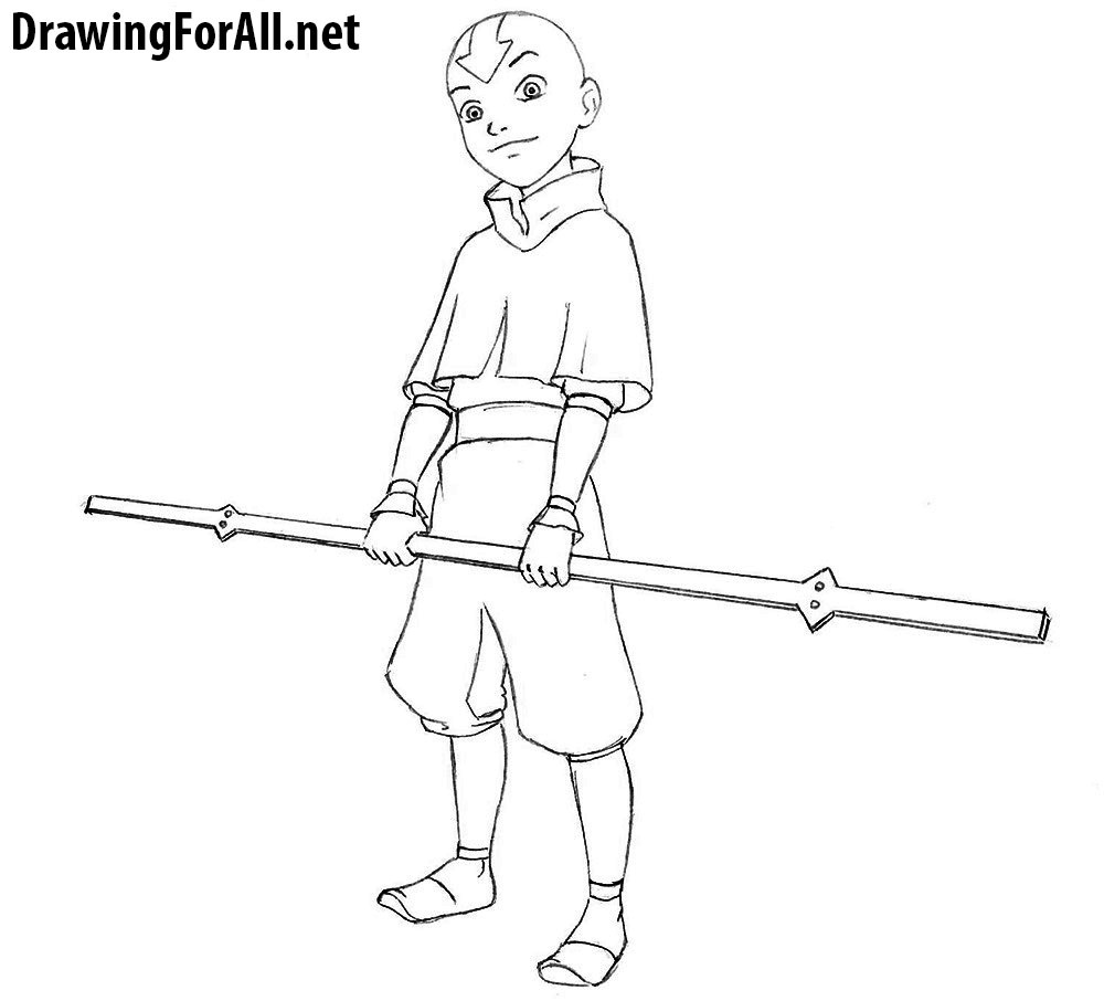 avatar aang drawing step by step