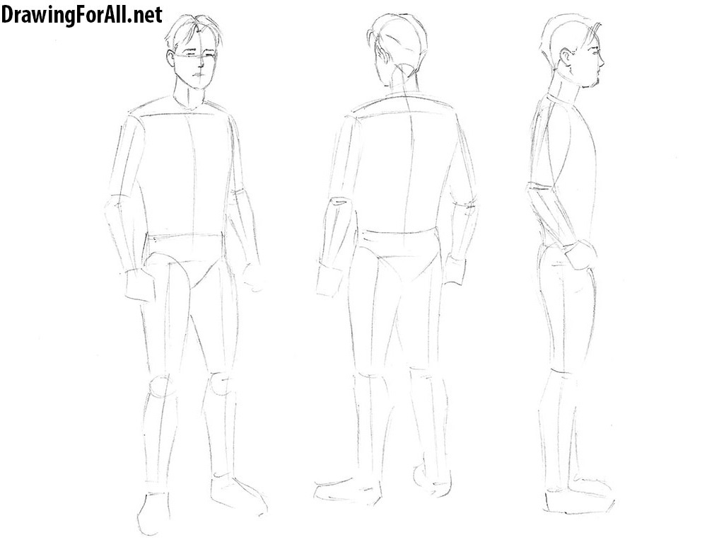 how to draw a man from three angles