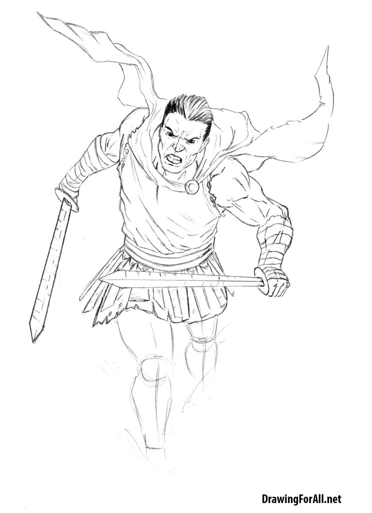 how to draw Ancient Rome's warrior