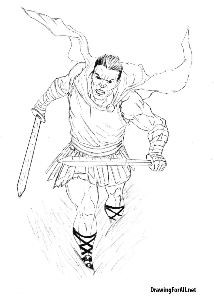 how to draw a roman warrior step by step