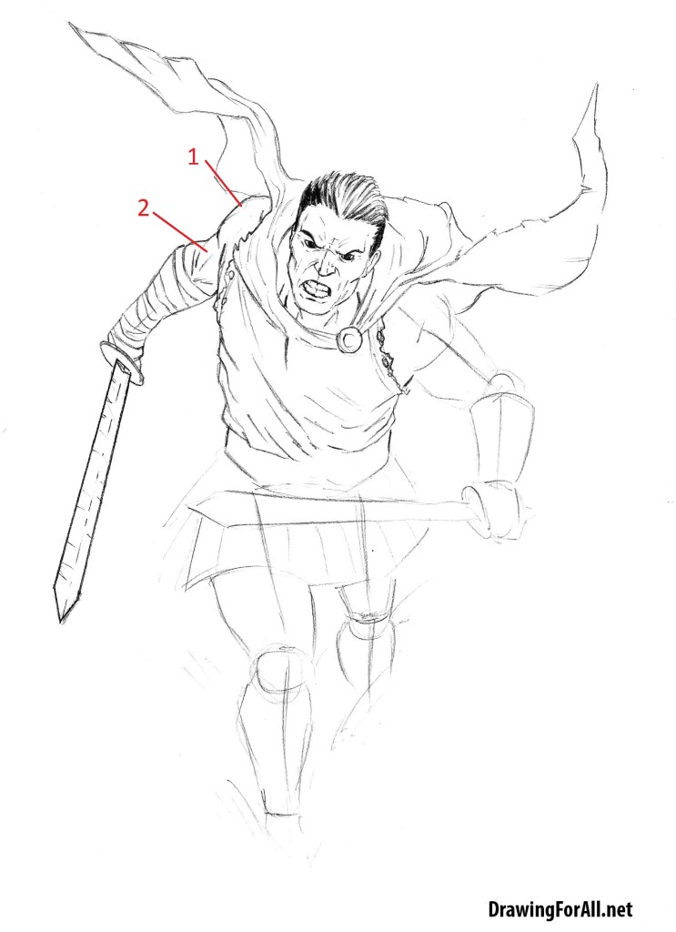 how to draw an antient warrior step by step