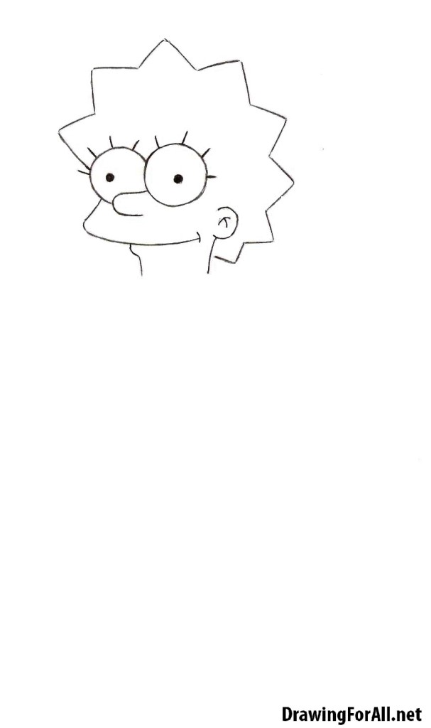 how to draw lisa simpson by pencil