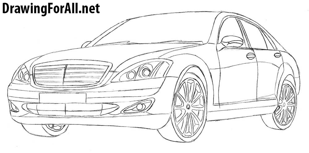 how to draw mercedes s-class