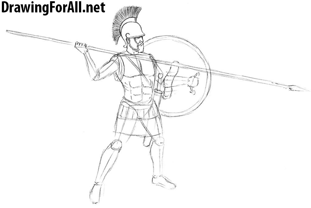 how to draw an antique warrior
