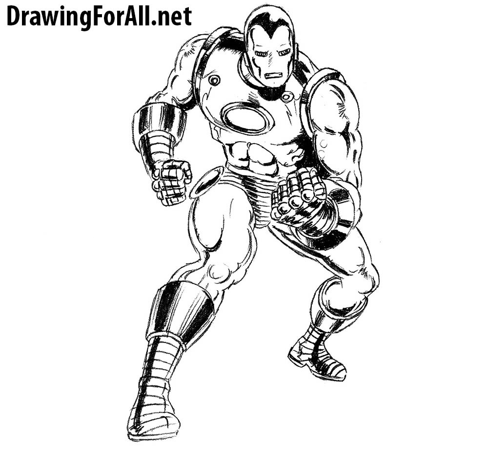 how to draw classic Iron Man