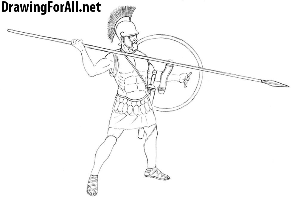 how to draw a hoplite