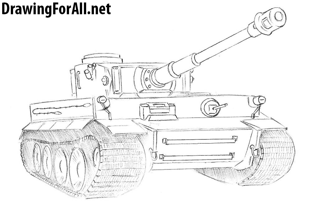 how to draw ww2 tank