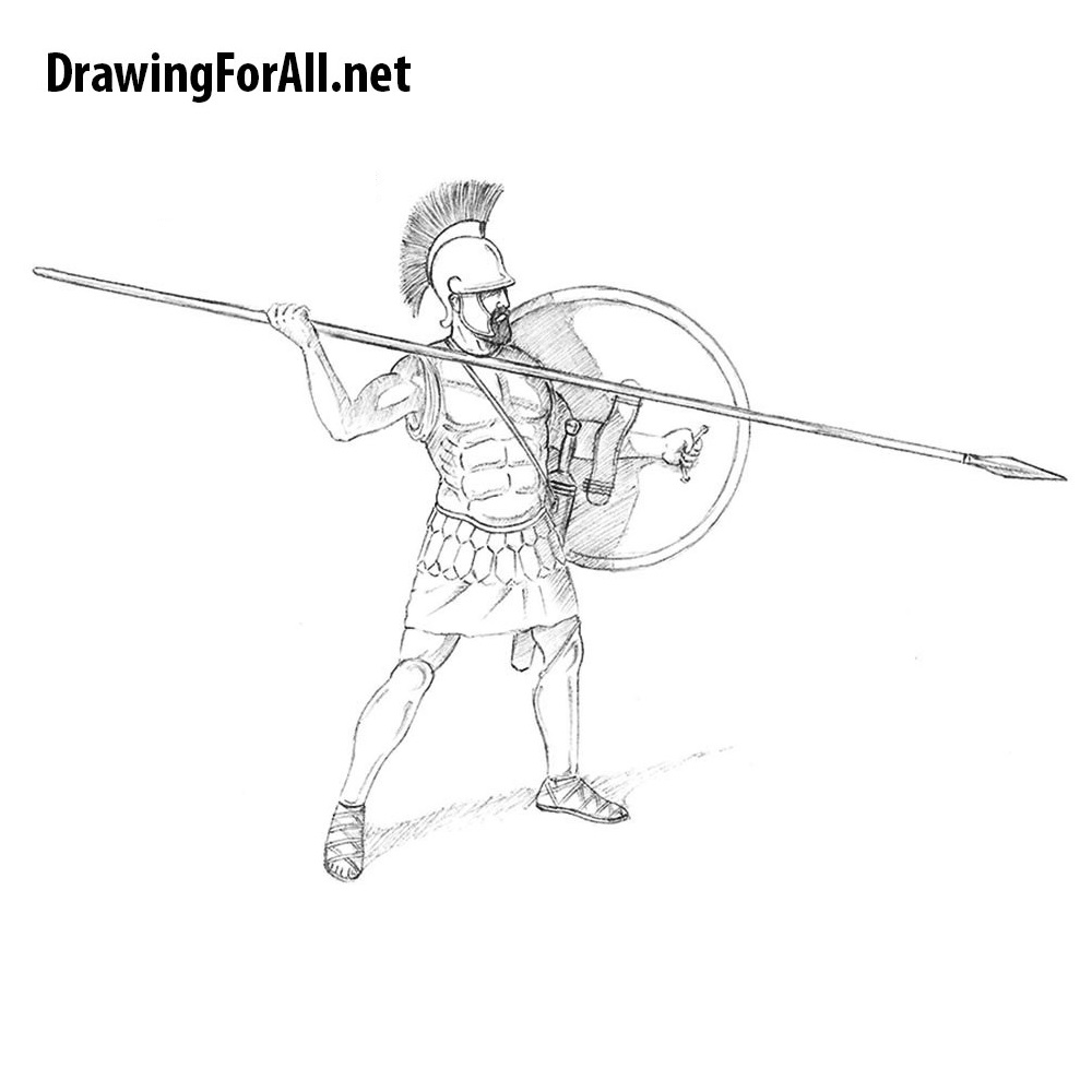 How to Draw an Ancient Greek Warrior | DrawingForAll.net