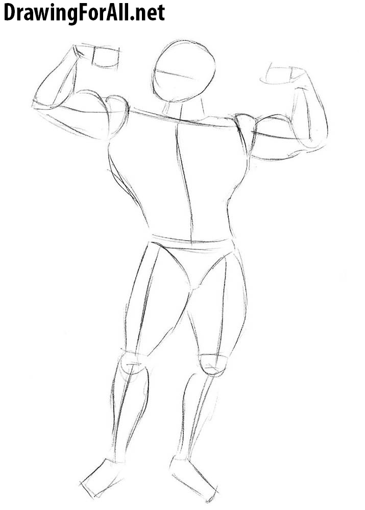 learn how to draw a bodybuilder for beginners