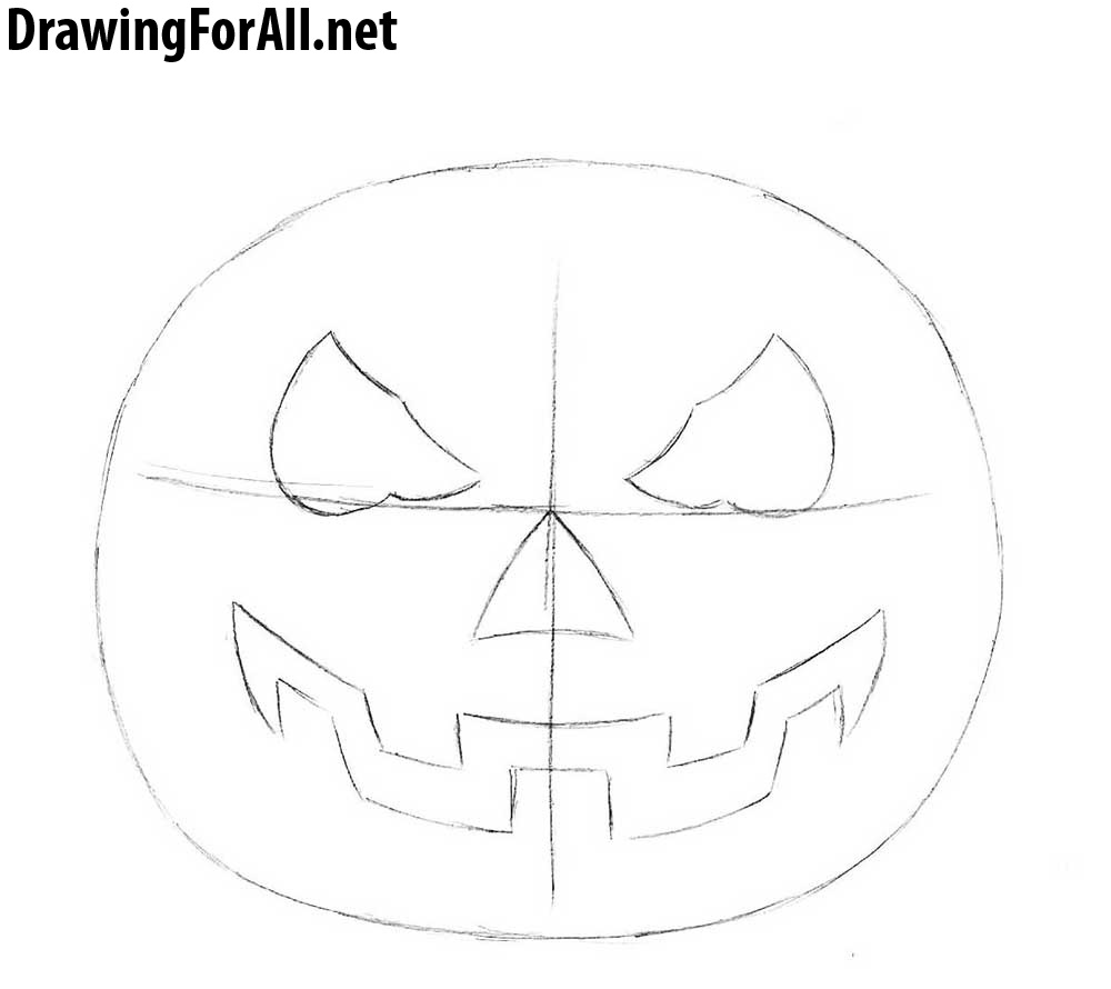 Halloween Pumpkin Drawing Picture.How To Draw A Halloween Pumpkin Drawingforall Net