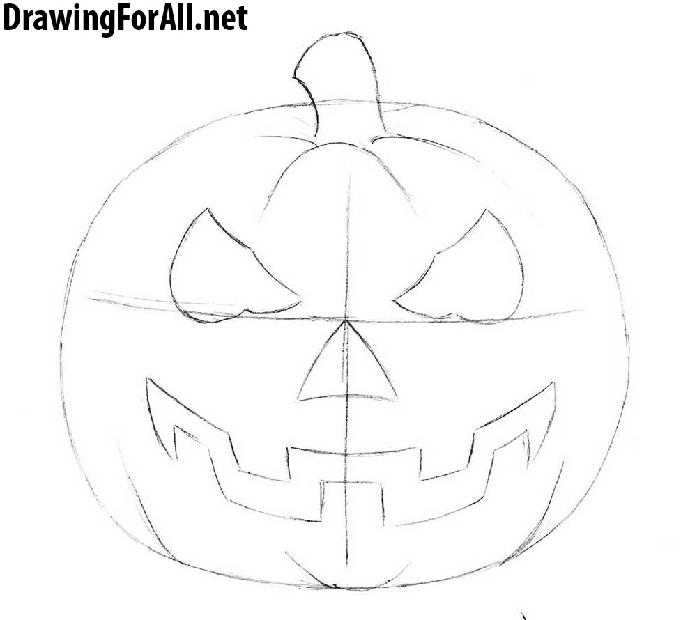 how to draw a halloween pumpkin head