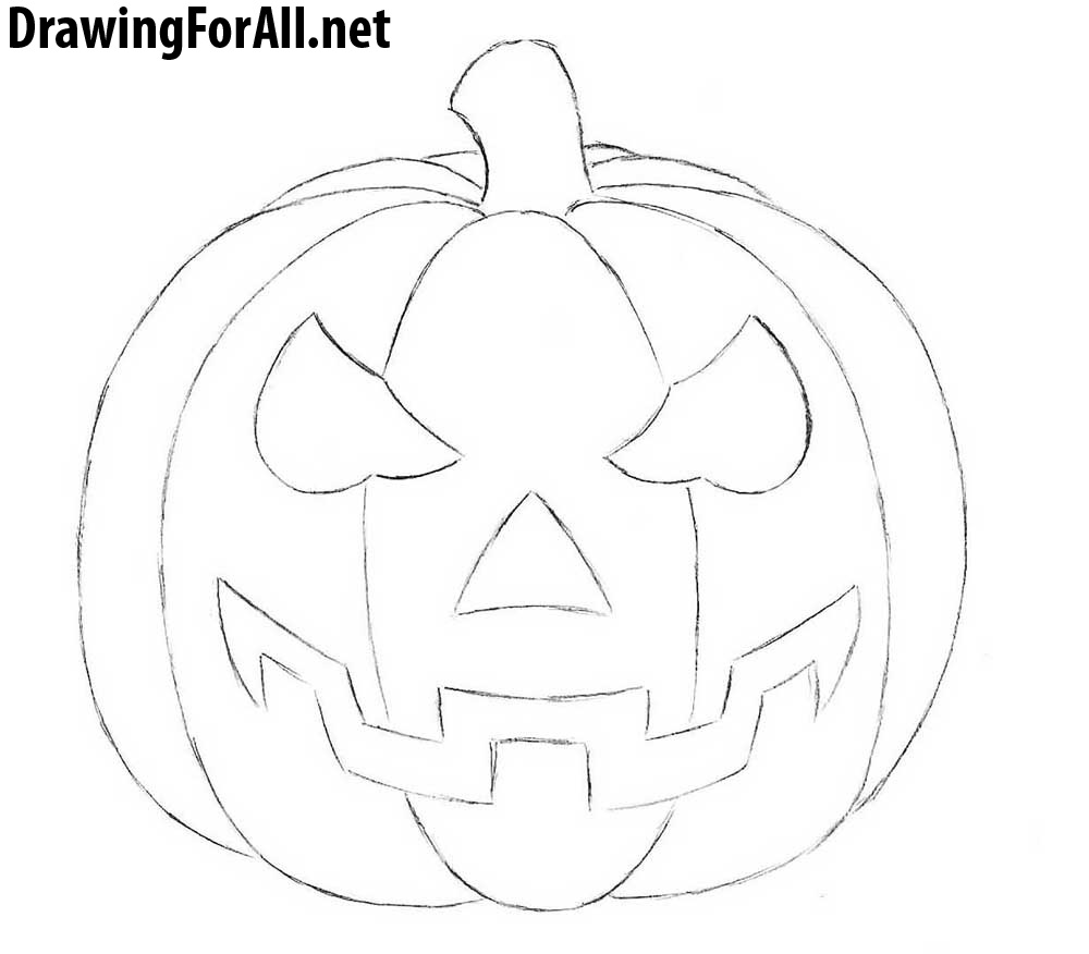 how to draw a halloween pumpkin step by step