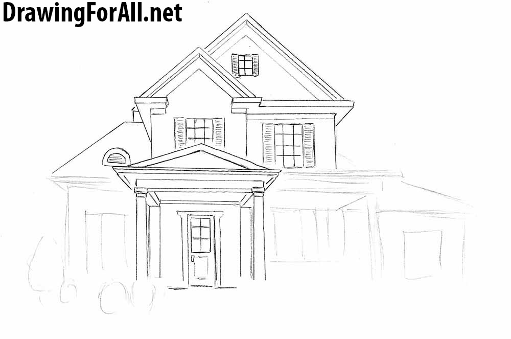 How to draw a house step by step with a pencil