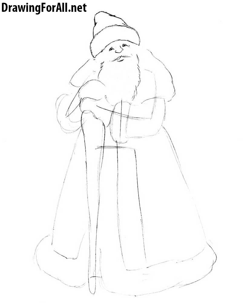 how to draw ded moroz with a pencil step by step