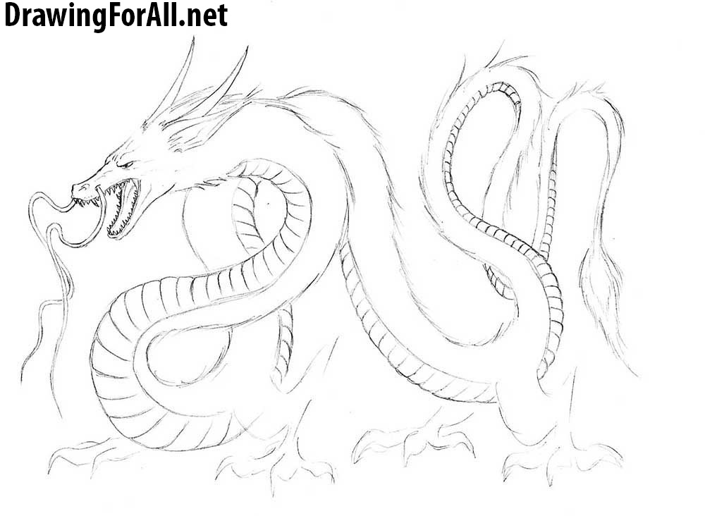 How to Draw a Chinese Dragon step by step with a pencil