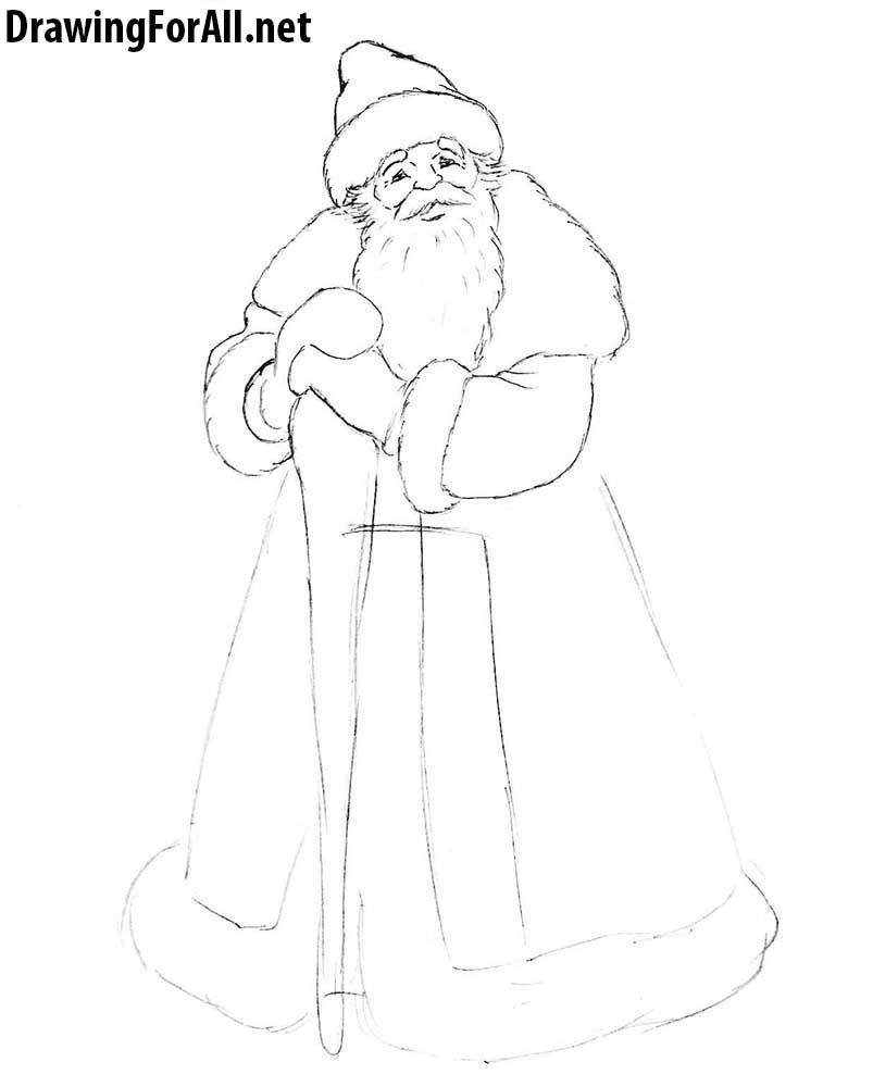how to draw russian ded moroz