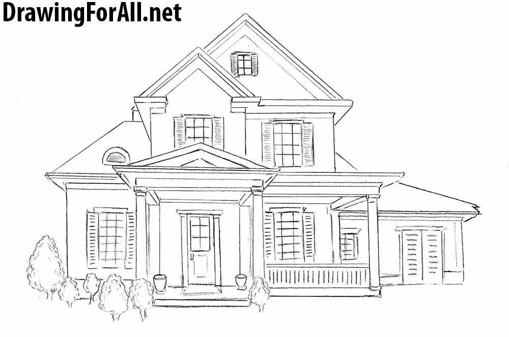 how to draw houses step by step
