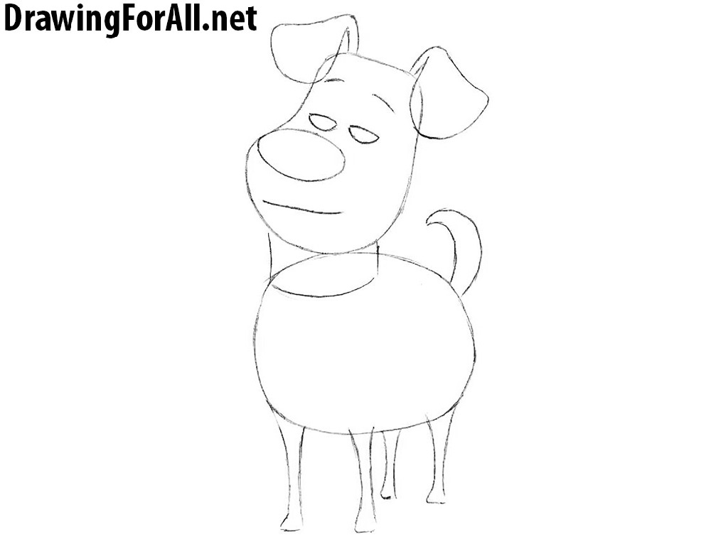 Contour Line Drawing Dog : How to draw max from the secret life of pets