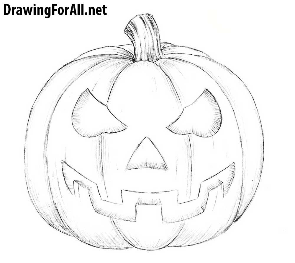 how to draw a halloween pumpkin