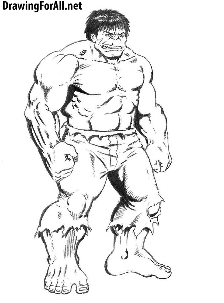 how to draw calssic hulk