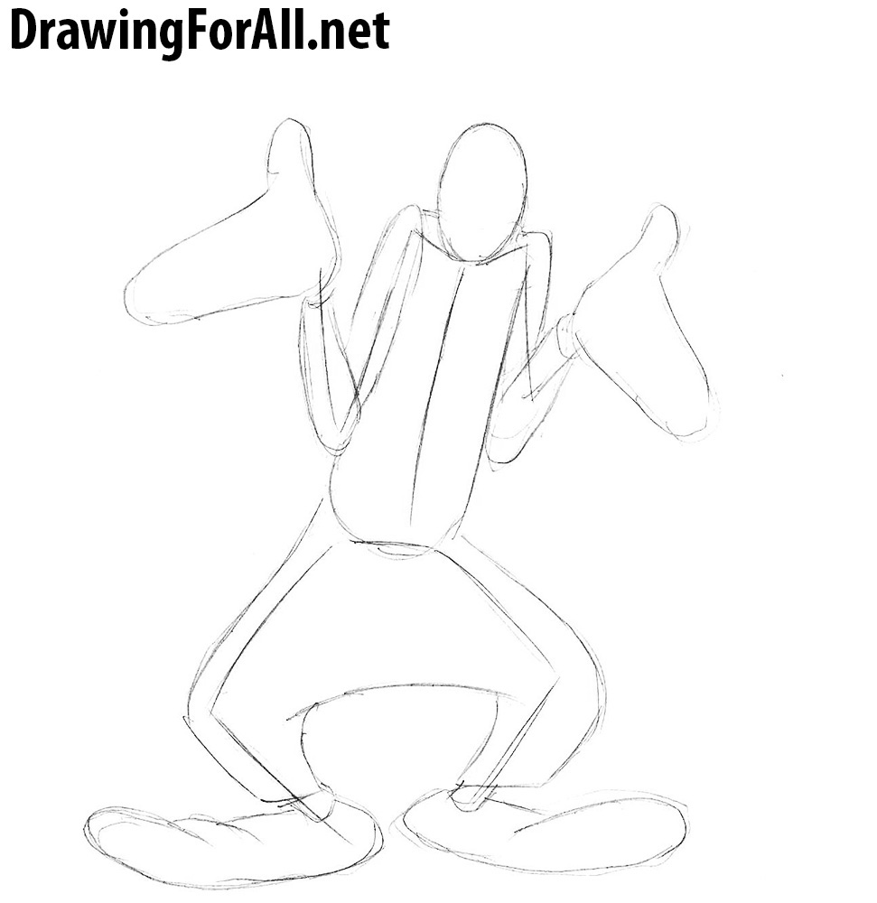 how to draw goofy step by step