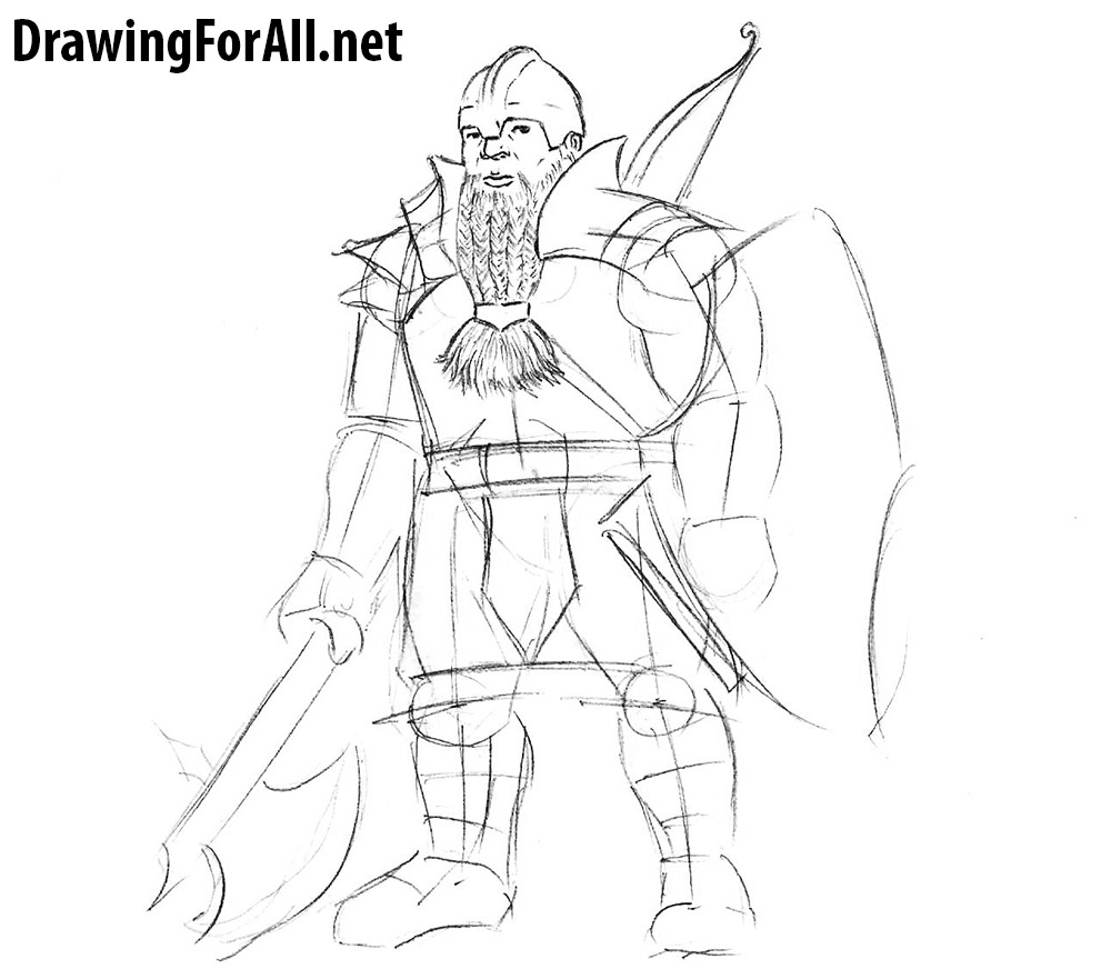 learn how to draw a dwarf warrior