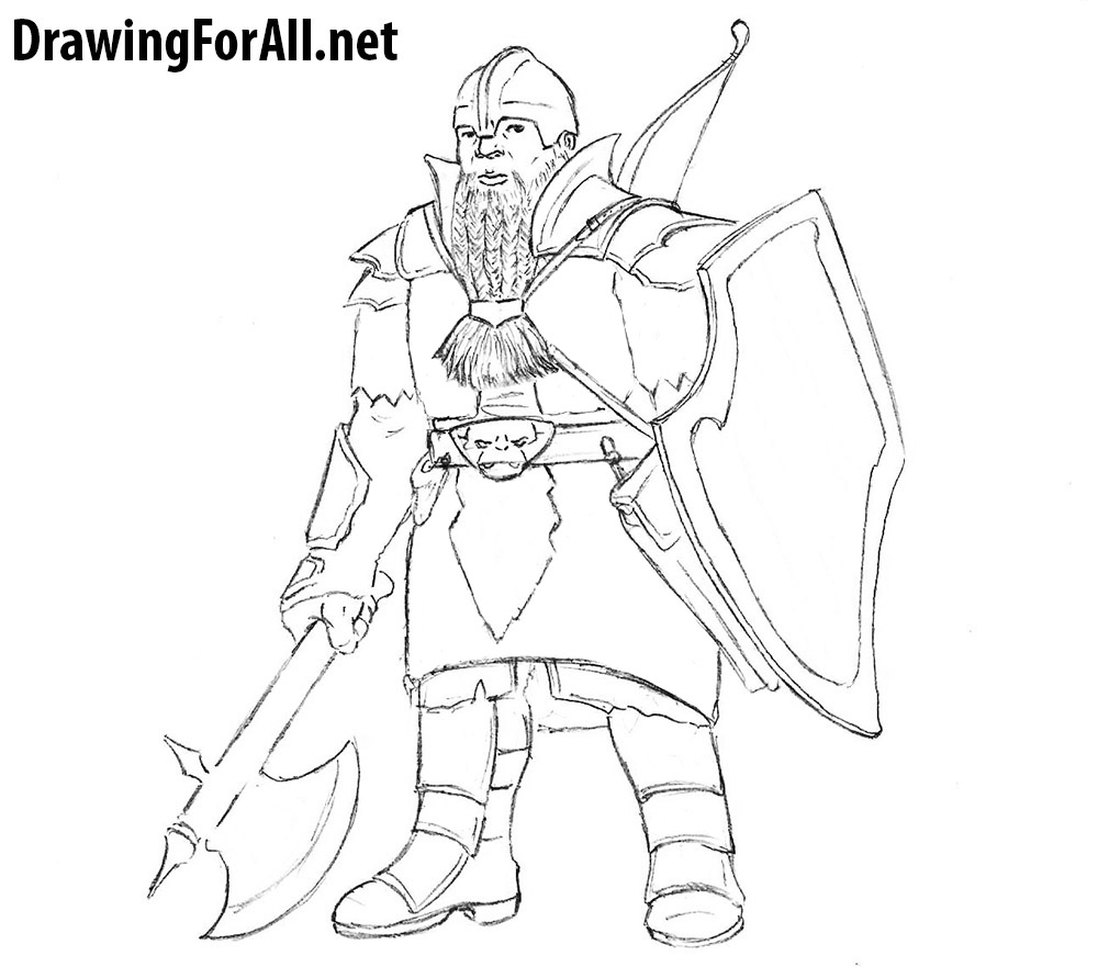 how to draw a dwarf warrior from dungeons and dragong