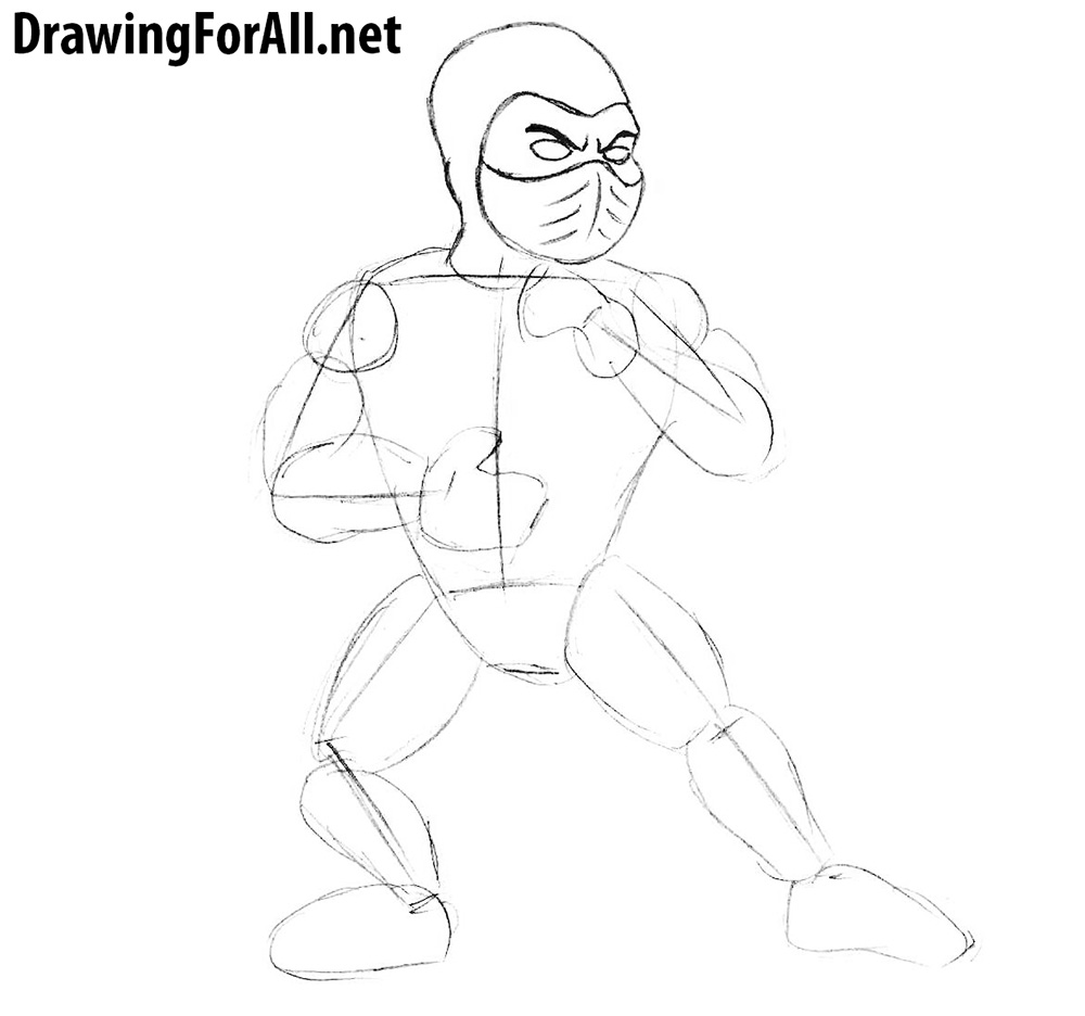 how to draw subzero for beginners step by step
