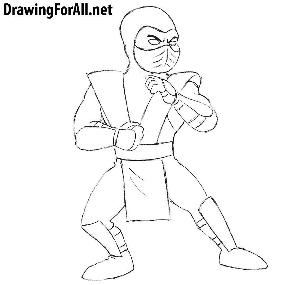 how to draw cartoon sub-zero for kids