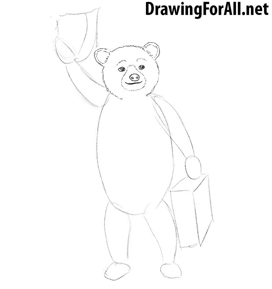 How to draw Paddington Bear step by step