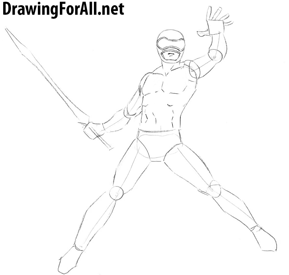 how to draw power rangers step by step