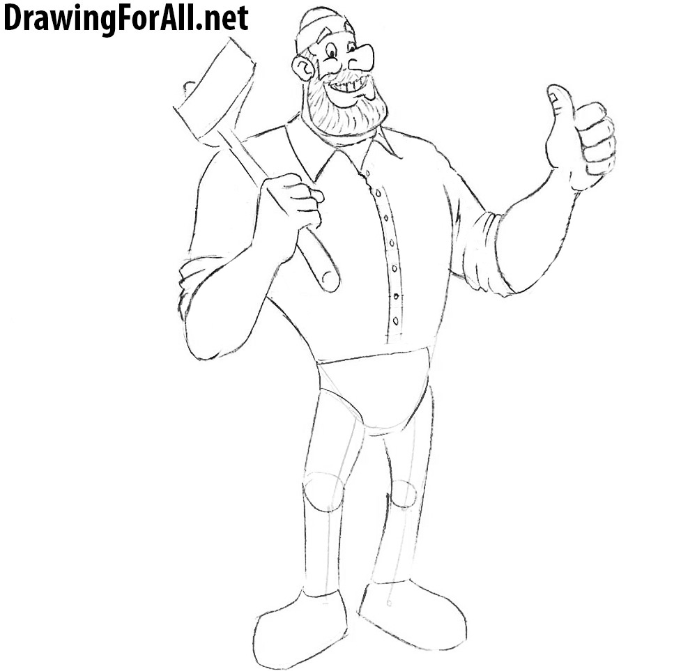 paul bunyan step by step drawing