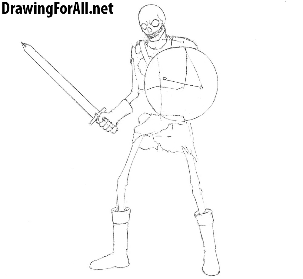 how to draw a warrior skeleton