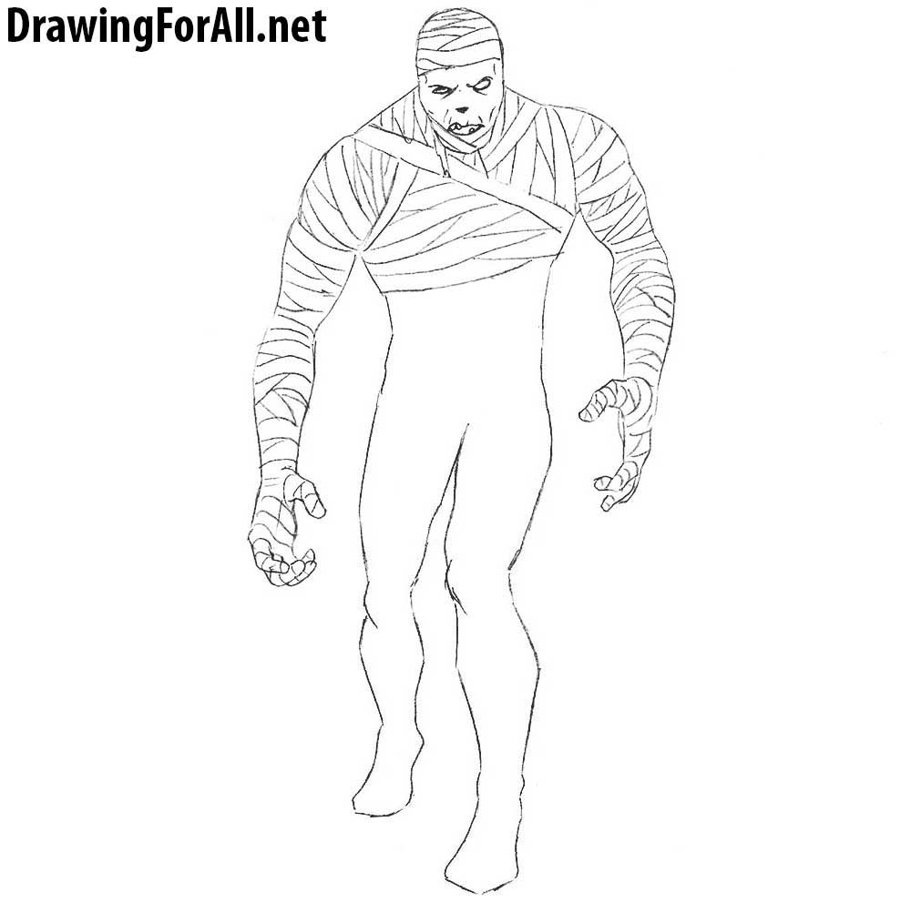 how to draw mummy step by step