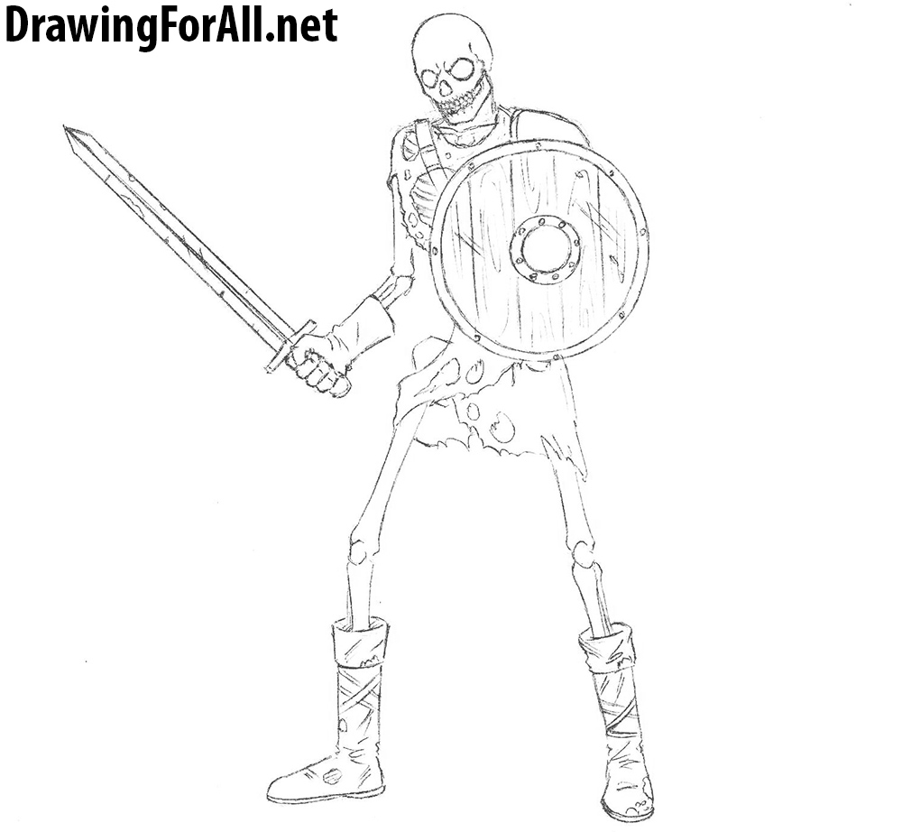 skeleton warrior drawing