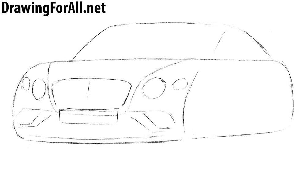 how to draw a bentley step by step