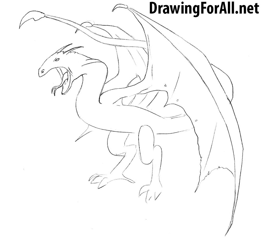 how to draw a wyvern step by step