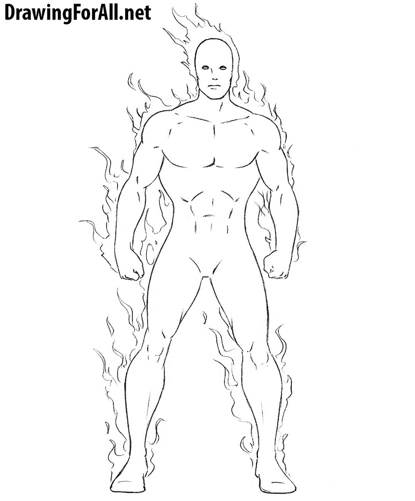Human Torch drawing