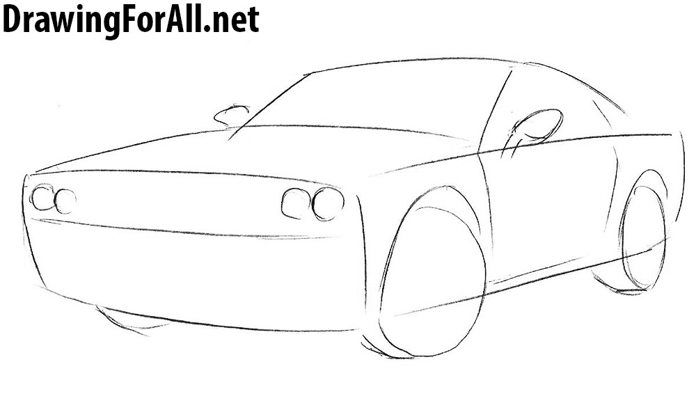 how to draw a dodge challenger